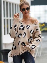 V Neck Leopard Jumper Sweater