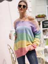 V Neck Striped Rainbow Sweater