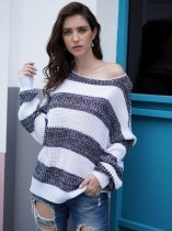 Grey Striped Knit Sweater