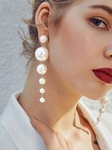 Long Gold Pearl Earrings