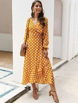 Yellow Polka Dots Ruffle Maxi Dress