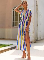 Sexy Striped Slit Maxi Dress