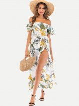 Bandeau Floral Slit Maxi Dress