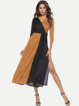 Color Block Slit Maxi Dress
