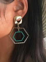 Geometric Gold Dangle Earrings