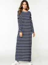 Navy Striped Long Maxi Dress