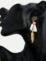 Leaf & Tassel Gold Drop Earrings
