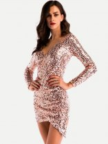 Solid Sequin Bodycon Party Dress