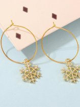 Christmas Snowflake & Circle Gold Earrings