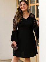 Plus Size Black Lace Mini Party Dress