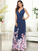 Floral Print Backless Maxi Prom Dress