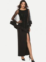 Black Sequin High Slit Maxi Evening Dress
