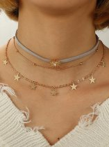 Sun & Star Gold Layered Choker Necklace