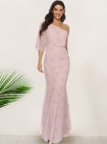 Pink One Shoulder Mermaid Evening Dress