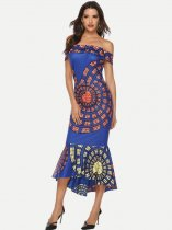 Blue Off Shoulder Printed Mermaid Evening Dress