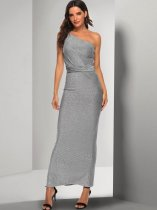 Silver One Shoulder Ruched Bodycon Formal Dress