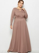 Plus Size Solid Long Sleeve Maxi Dress