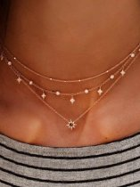 Star Rhinestone Gold Layered Choker Necklace