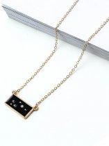 Rectangle Rhinestone Gold Pendant Necklace