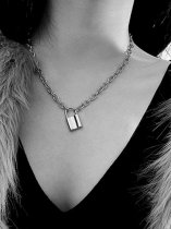 Lock Silver Chain Pendant Necklace