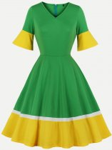 60s Color Block A Line Dress