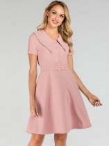 50s Style Pink Belted A Line Dress