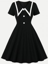 50s Black Color Block Swing Dress