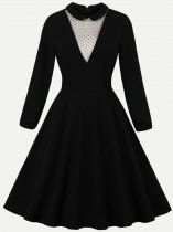 50s Black Polka Dots Swing Dress