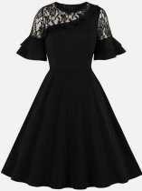 60s Black Lace Ruffle Swing Dress