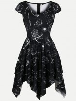 60s Black Halloween Irregular Dress