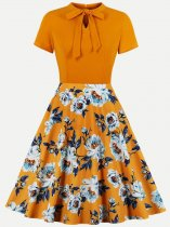 60s Orange Floral Print Swing Dress
