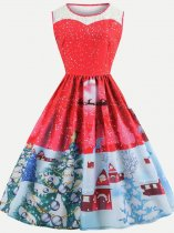 60s Retro Christmas Print Swing Dress