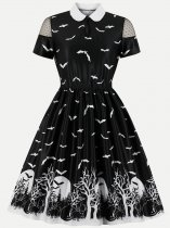 60s Black Halloween A-Line Dress