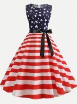 60s Independence Day Striped Star Dress