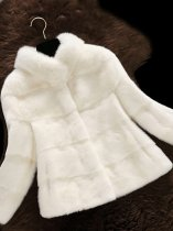 Solid Short Faux Mink Fur Coat