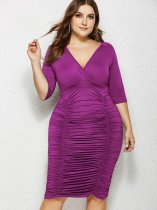 Plus Size Solid Pleated Bodycon Dress