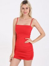 Solid Ruched Bodycon Mini Cami Dress