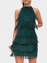 Backless Bodycon Tassel Halter Dress