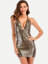 Black Deep V Neck Backless Sequin Dress
