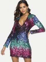 Deep V Neck Sequin Bodycon Dress