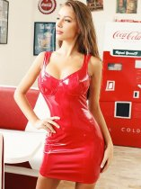 Sweatheart Neck Bodycon PU Dress