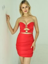 Cut Out Ruched Bodycon Tube Dress
