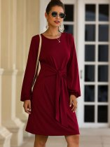 Red Lacing Front Casual Dress
