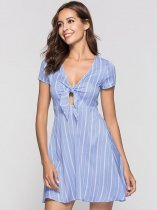 Blue V Neck Knot Front Striped Dress