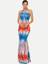 Halter Neck Printed Maxi Prom Dress