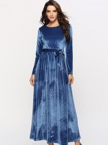 Blue Maxi Velvet Formal Dress