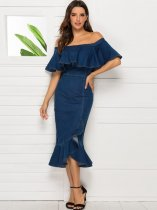 Boat Neck Ruffle Hem Mermaid Wrap Denim Dress