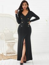 V Neck Bodycon Long Sleeve Maxi Formal Dress