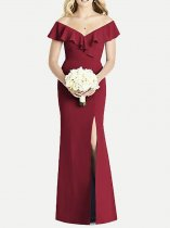 V Neck Ruffle High Slit Bodycon Bridesmaid Dress