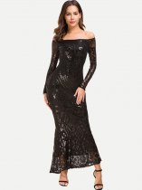 Boat Neck Sequin Lace Mermaid Evening Dress